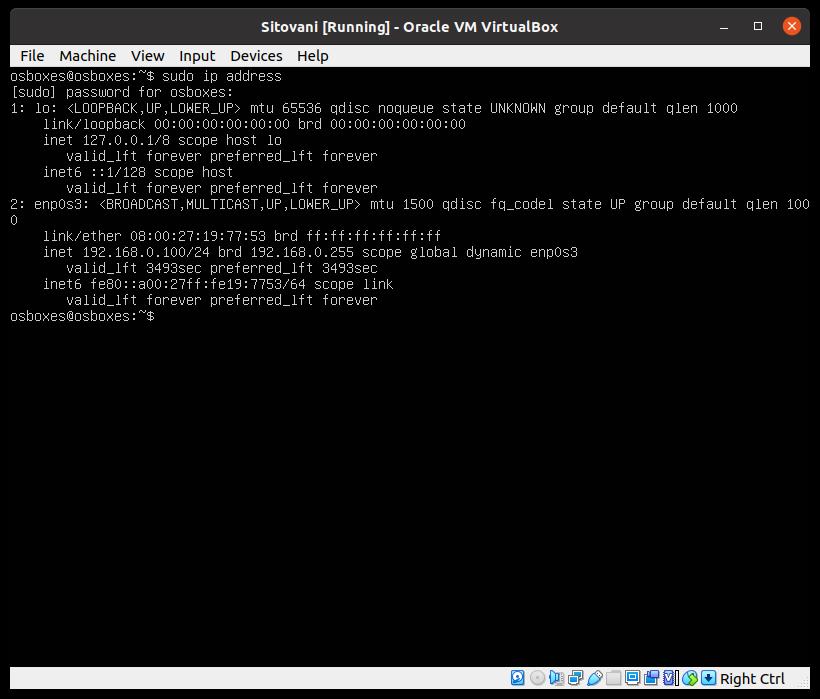 VM IP address